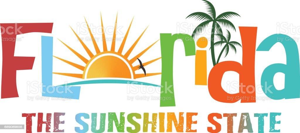 Florida theme name image illustration vector art illustration