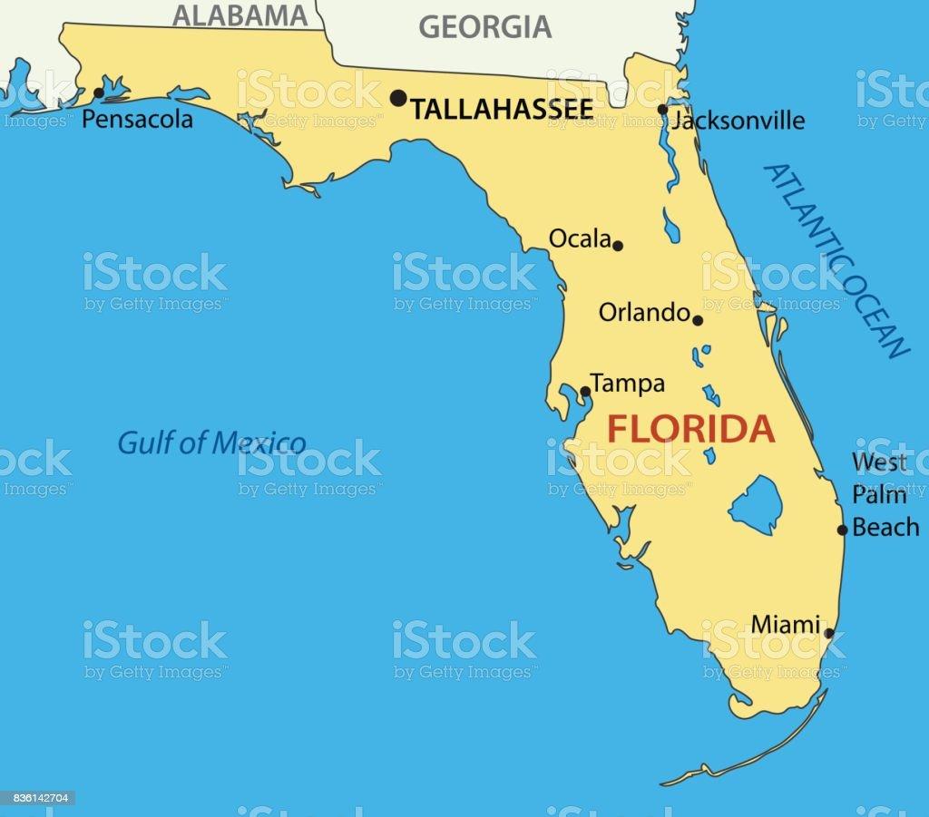 Florida Vector Map Stock Vector Art More Images Of Atlantic Ocean - Map-of-us-atlantic-coast