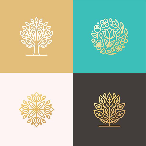 Florist and landscape designers logos vector art illustration