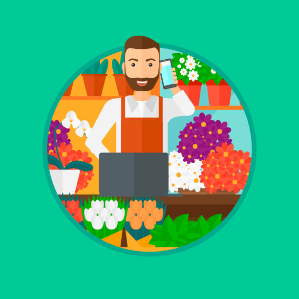 florist at flower shop - small business owner stock illustrations