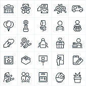 Florist icons. The icons include a floral shop, teddy bear, love note, sympathy card, flowers, delivery van, balloons, rose, florist, gift, heart, love, apron, merchant, calendar, chocolate, delivery, online purchase, couple, gift card, chocolate strawberry and decorative plant to name a few.