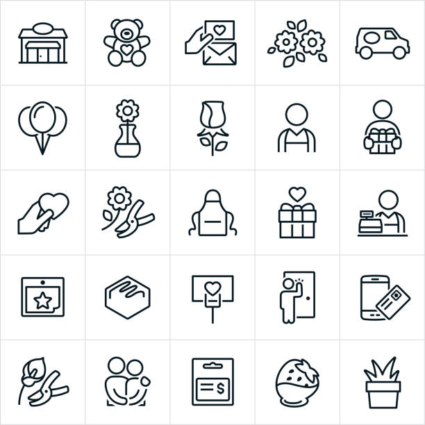 Florist Icons Florist icons. The icons include a floral shop, teddy bear, love note, sympathy card, flowers, delivery van, balloons, rose, florist, gift, heart, love, apron, merchant, calendar, chocolate, delivery, online purchase, couple, gift card, chocolate strawberry and decorative plant to name a few. apron stock illustrations