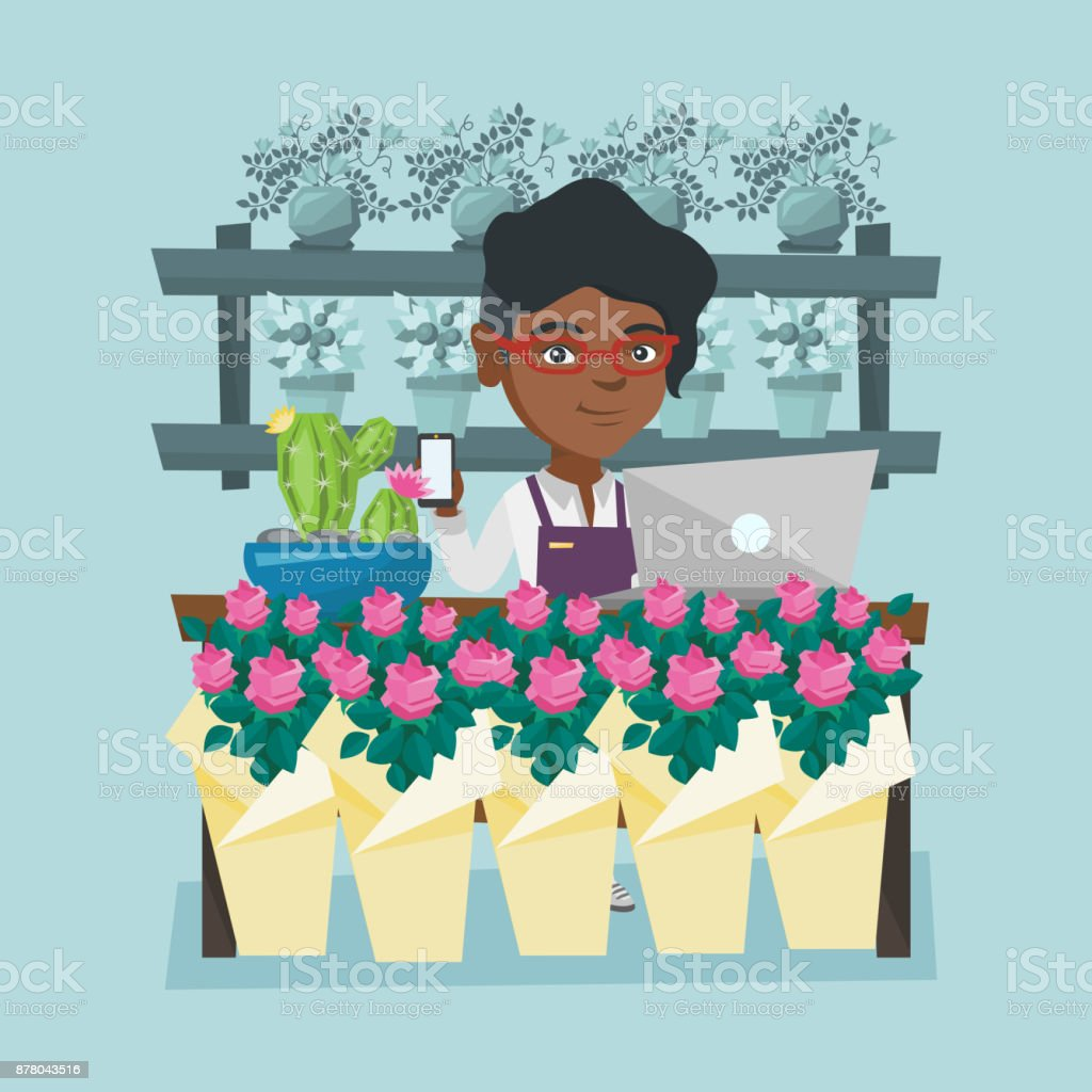 Florist standing behind the counter at flower shop vector art illustration