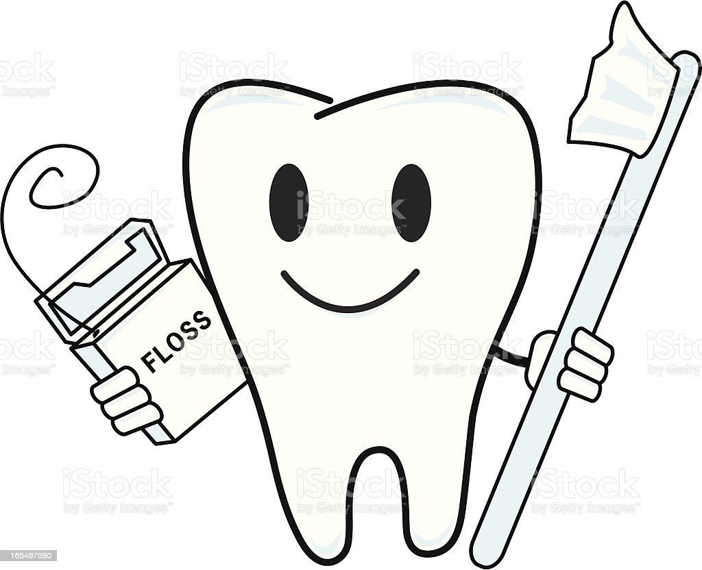 Tooth Line Drawing Tumblr : Floss tooth toothbrush stock vector art more images of