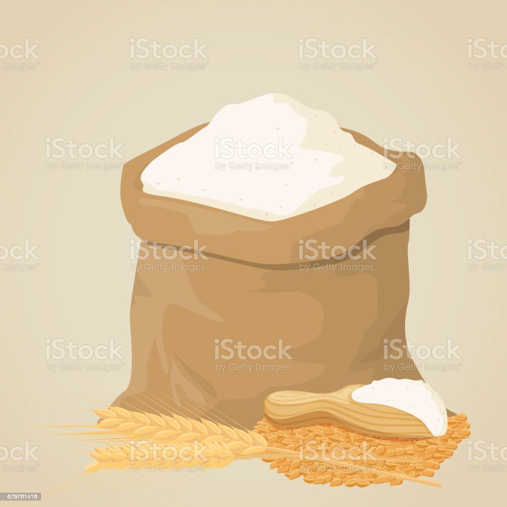 Flour bag vector art illustration