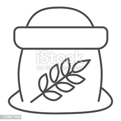 Flour in open bag thin line icon, bakery concept, Bag of grain sign on white background, Sack of flour icon in outline style for mobile concept and web design. Vector graphics