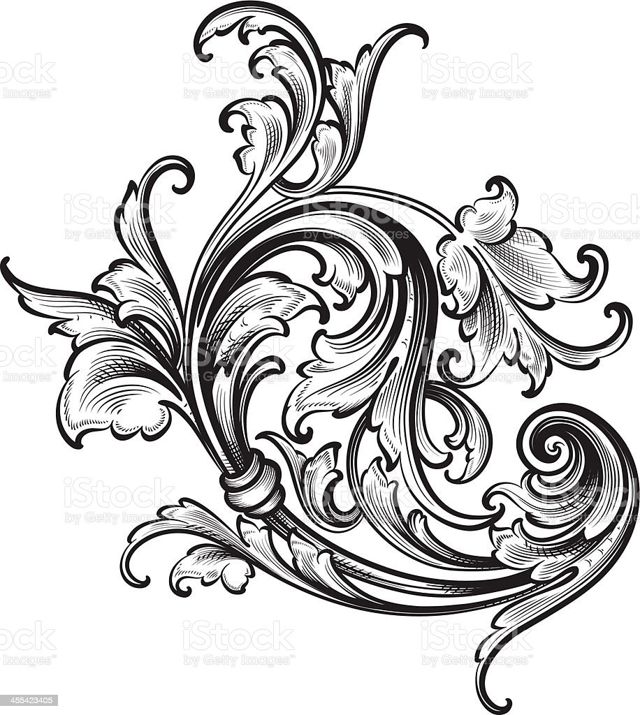 Flourish Arabesque Scrollwork Stock Vector Art 455423405