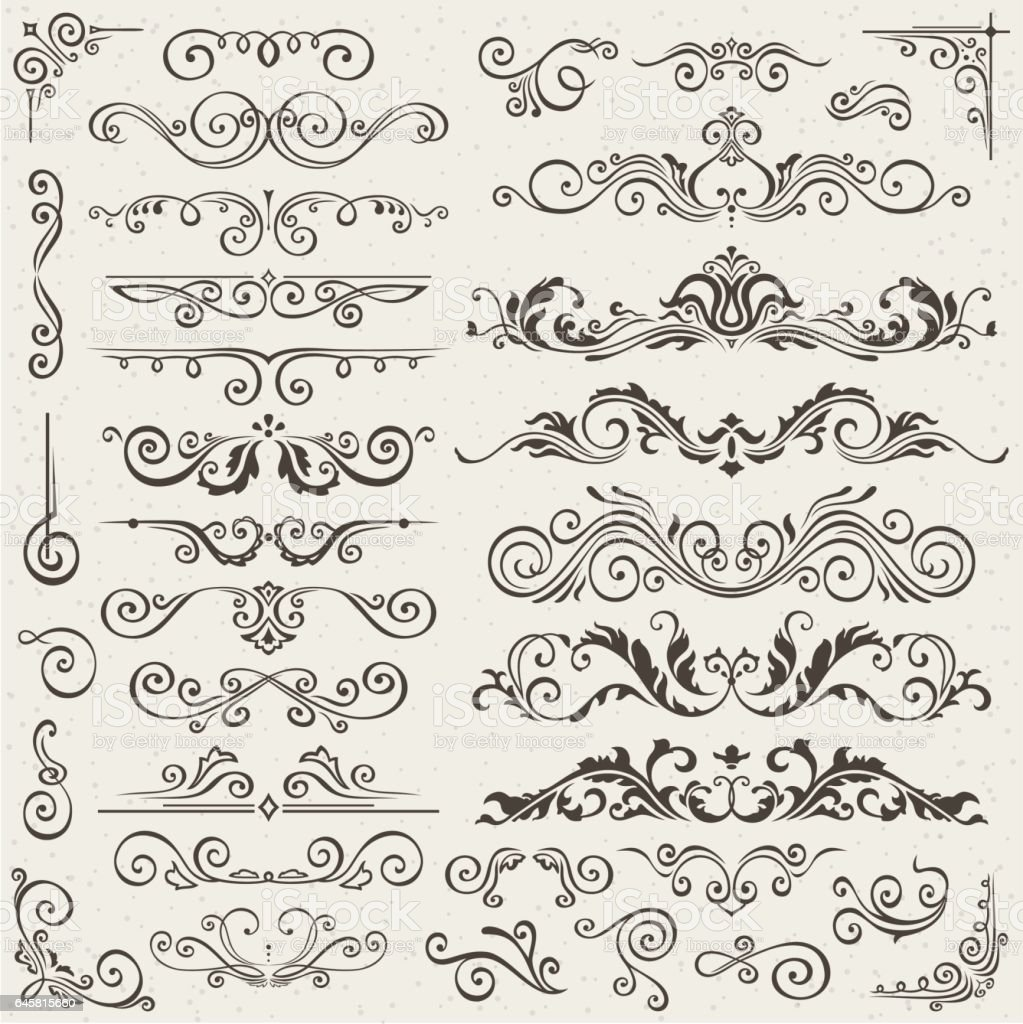 Flourish Border Corner And Frame Elements Collection ...