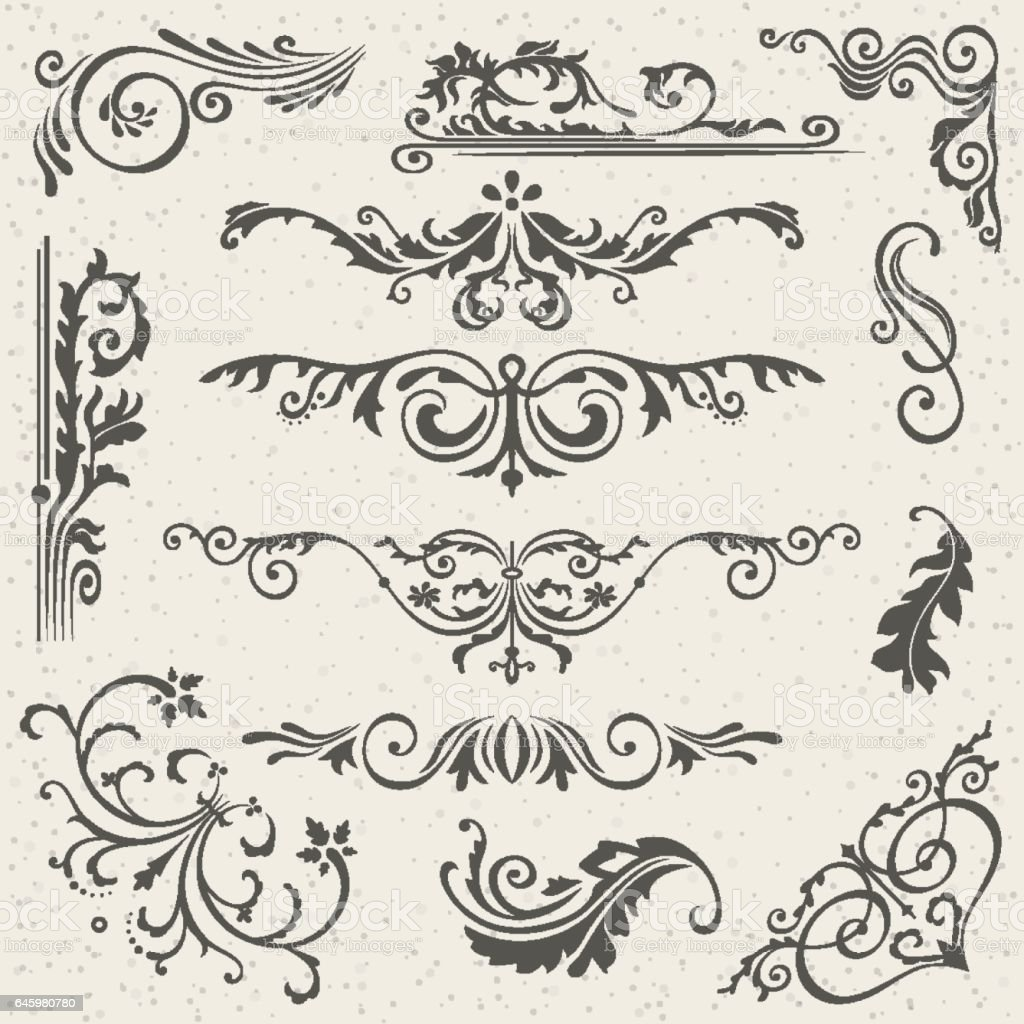 Flourish border corner and frame elements collection vector card flourish border corner and frame elements collection vector card invitation victorian grunge calligraphic stopboris Image collections