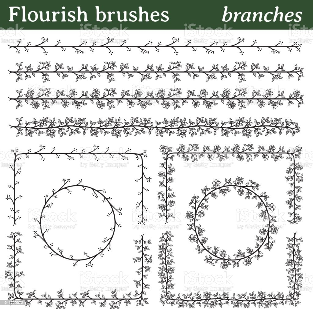 Flourish brushes, branches vector art illustration