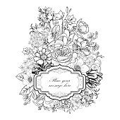 Flourish card with copy space. Floral background