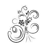 Flourish design element on white background. Vector illustration