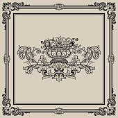 Vector Illustration antique isolated vector scroll floral with a antique frame element.