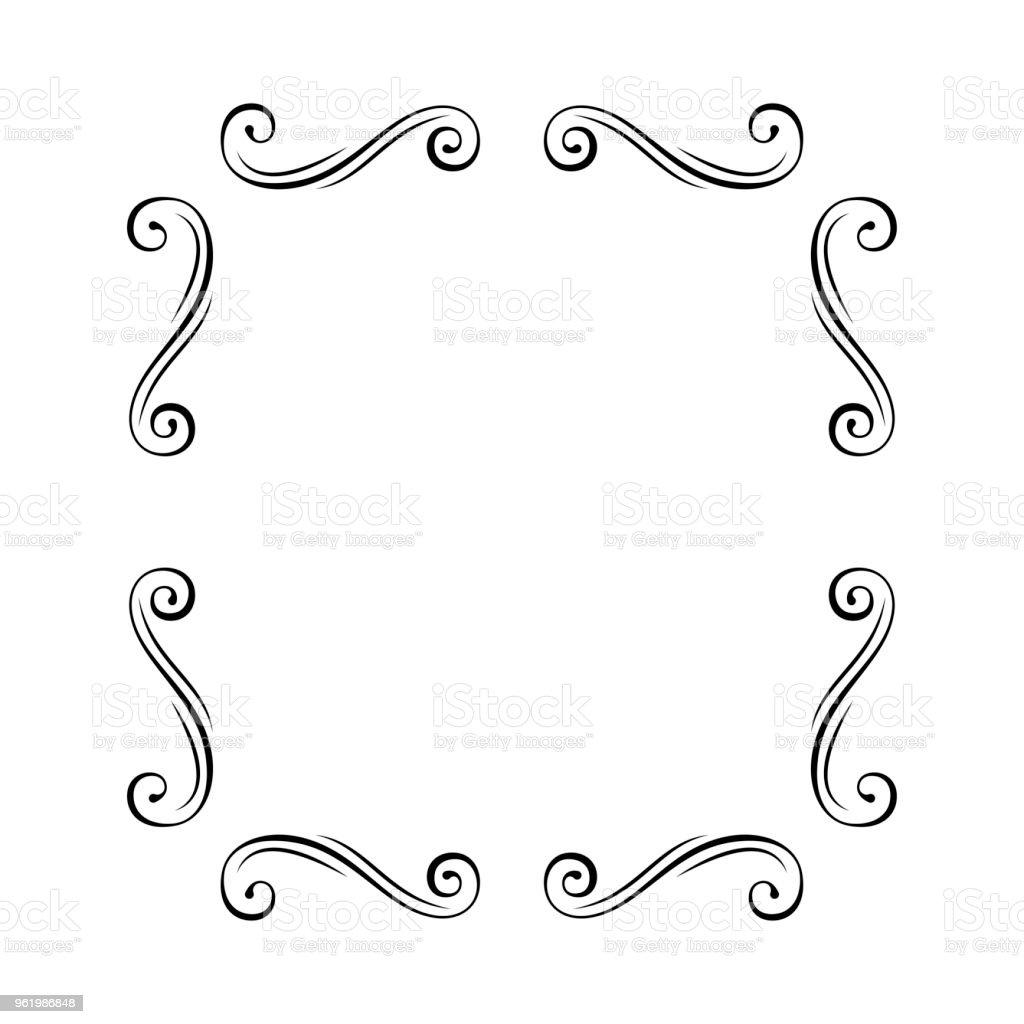 flourish frame swirls dividers vignettes page decoration template