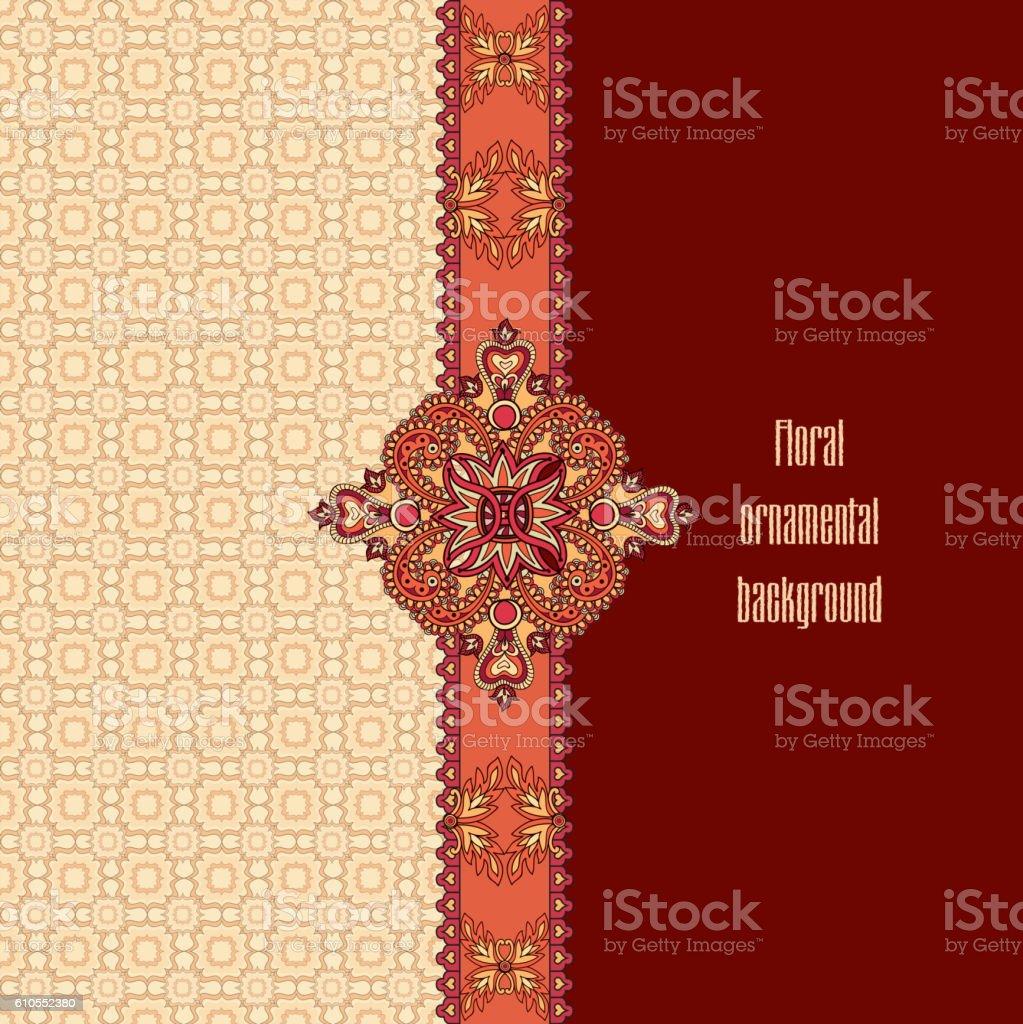 Flourish geometric border decor, floral pattern. Fantastic flowers, leaves ornament vector art illustration