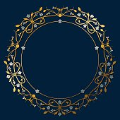 Vector drawing of a circular frame design (vignette) with place for copy text and little flowers (forget-me-not). In a flourish, ornamental style in gold and silver on a dark, royal blue background.