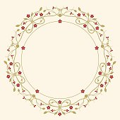 Vector drawing of a circular frame design (vignette) with place for copy text and little flowers. In a flourish, ornamental style in ruby red and gold-beige on a yellowed background.