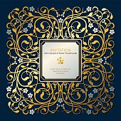 Vector drawing of a square, opulent frame design (vignette) with place for copy text and little flowers (forget-me-not). In a flourish, ornamental style in gold and silver on a dark, royal blue background. Can be used as an invitation card for marriage, valentines day and other romantic occasions.