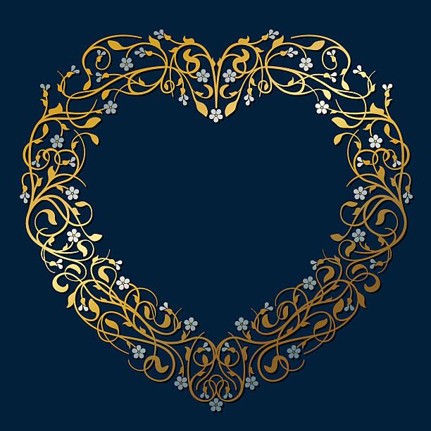 飾り装飾ハート型フレームはゴールドとシルバー(ご招待カード) - ロココ調点のイラスト素材/クリップアート素材/マンガ素材/アイコン素材