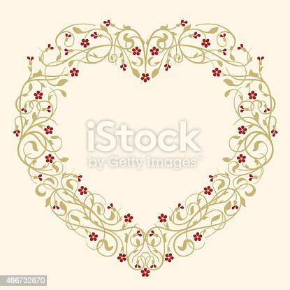 istock Flourish, ornamental, heart-shaped frame with ruby red flowers 466732670