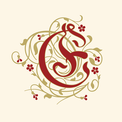 Flourish, ornamental letter E (Initial) with ruby red flowers