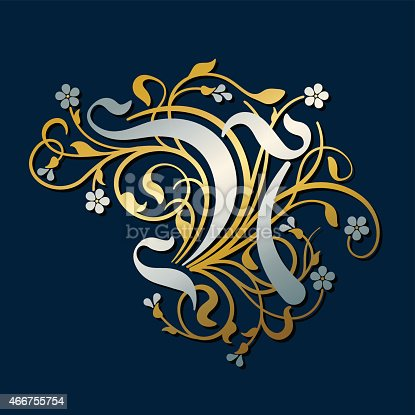 Vector drawing of an opulent letter