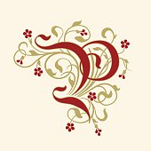 """Vector drawing of the letter """"P"""" with little flowers. A flourish, ornamental initial in ruby red and gold-beige on a yellowed background."""