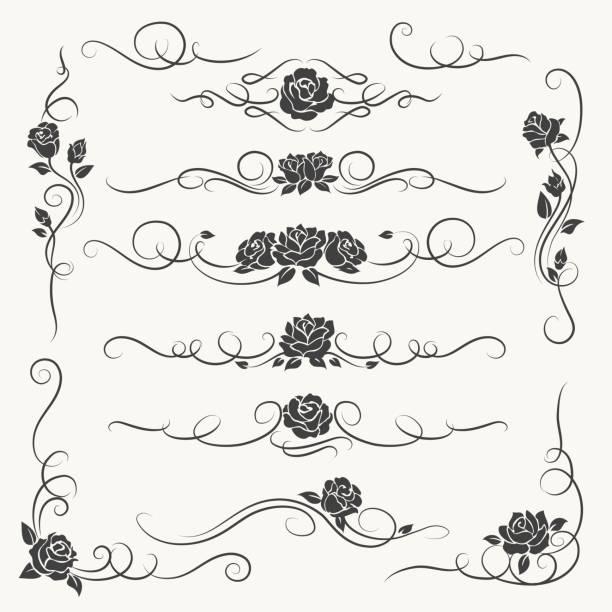 ilustrações, clipart, desenhos animados e ícones de florescer ornamentos decorativos rosas - bordas florais