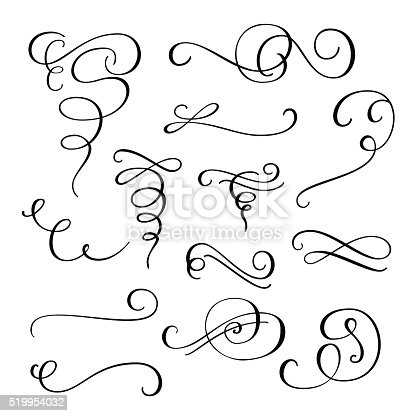 Flourish swirl ornate decoration for pointed pen ink calligraphy style. Quill pen flourishes. For calligraphy graphic design, postcard, menu, wedding invitation, romantic style.