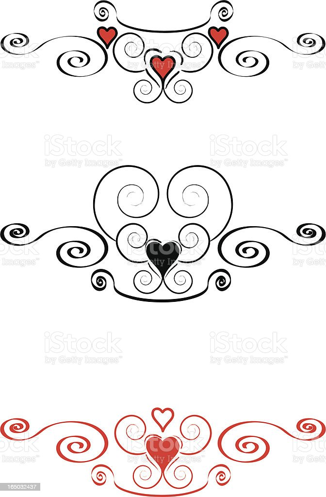 Flourishes Hearts And Scrolls In Black Amp Red Royalty Free