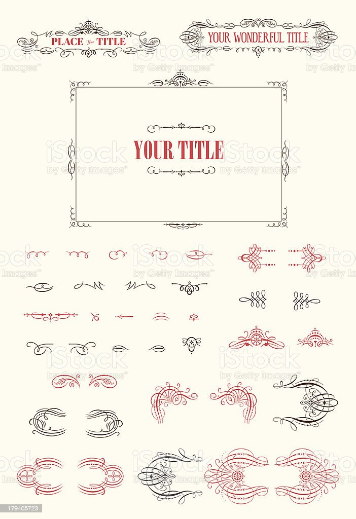 Flourishes vintage vector kit if red and black royalty-free stock vector art