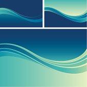 Three blue flow background designs
