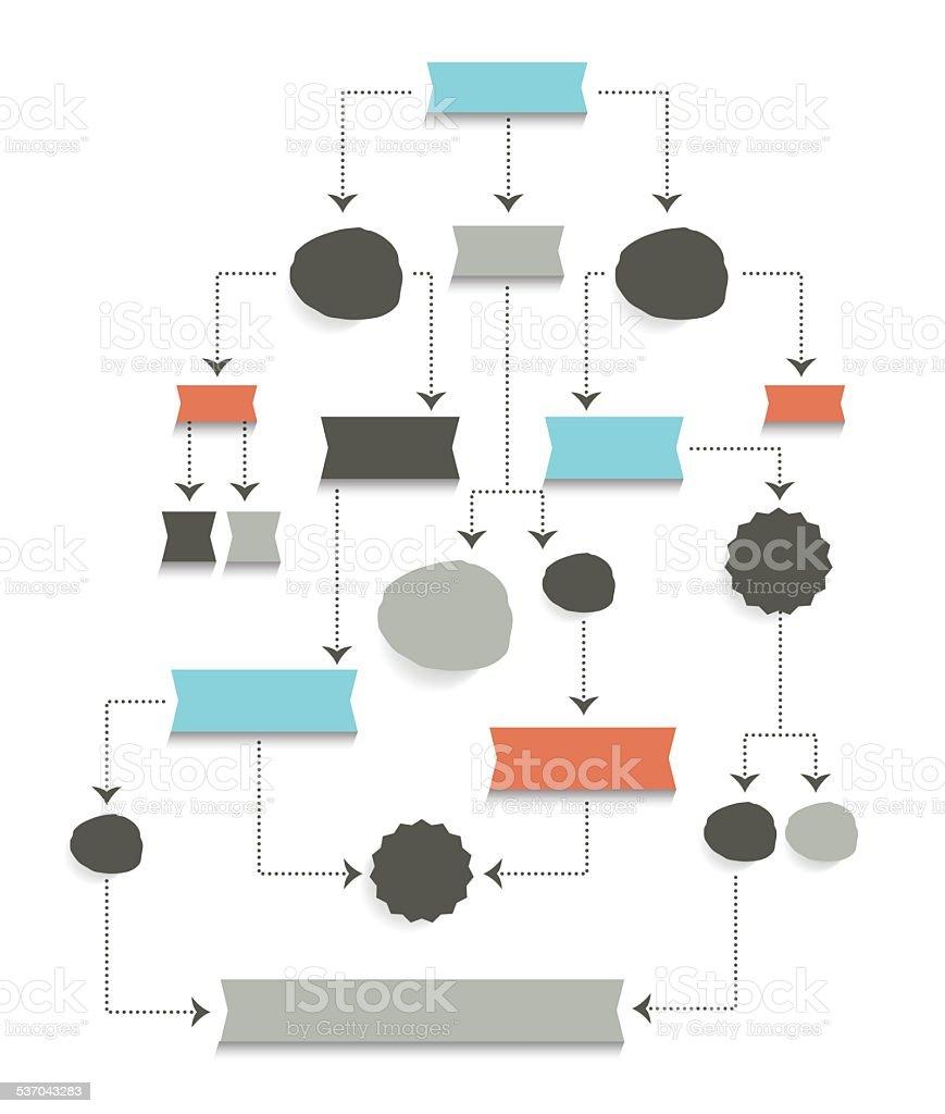 Flow chart diagram, scheme. Simply editable without text. vector art illustration