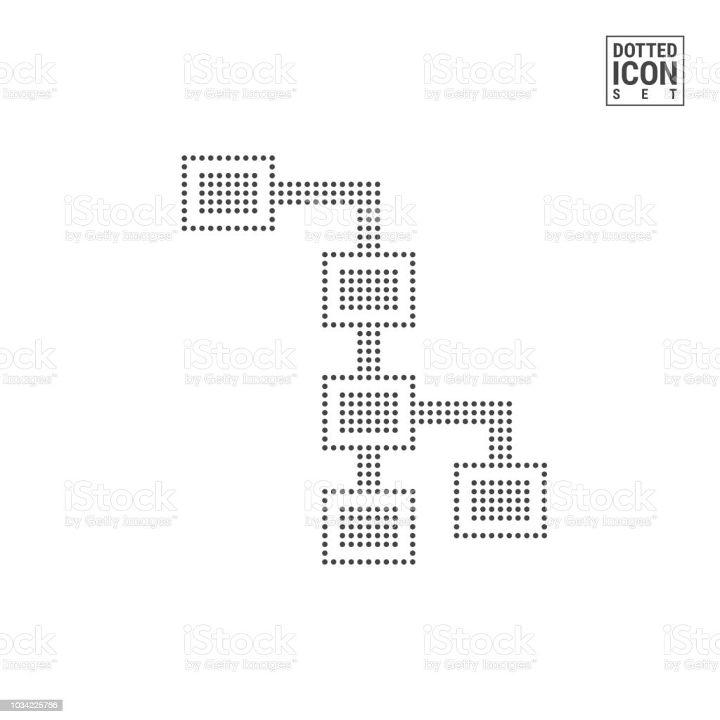 Flow Chart Dot Pattern Icon. Block Diagram Dotted Icon Isolated on White  Background. Vector