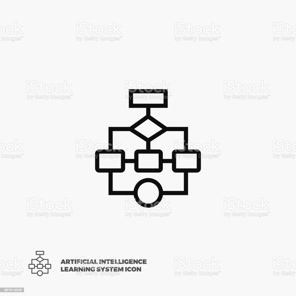 flow chart vector icon flat pixel perfect flowchart linear icon artificial intelligence learning