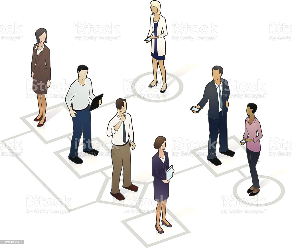 Flow Chart with People vector art illustration