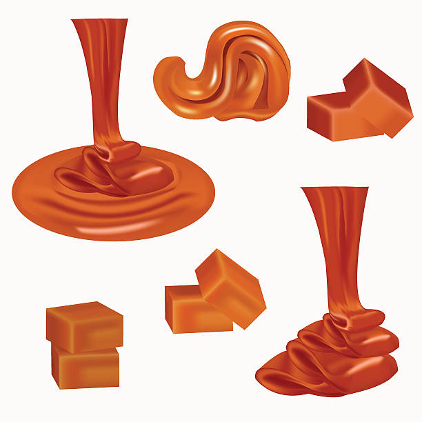 Flow, pouring sweet caramel.Caramel candies,square,toffee. Flow, pouring sweet caramel.Caramel candies,square,toffee,pieces of fudge, sauce. Melted caramel cream. Peanut butter spread. Liquid caramel runs down, the candy nougat. Tasty brown butterscotch caramel stock illustrations