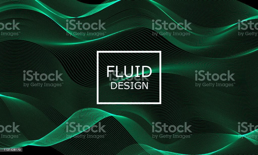 Flowformen Design Abstract 3d Grunes Licht Stock Vektor Art