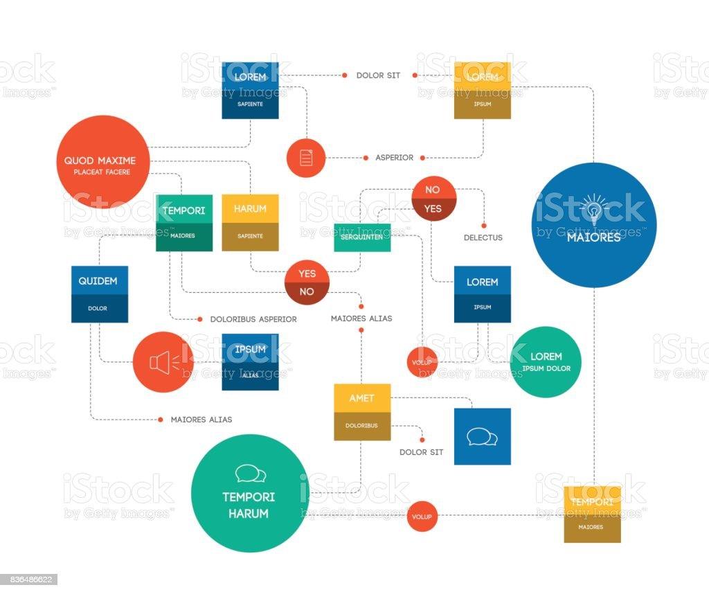 Ilustración de Diagrama De Flujo Grande Plantilla Esquema Diagrama ...