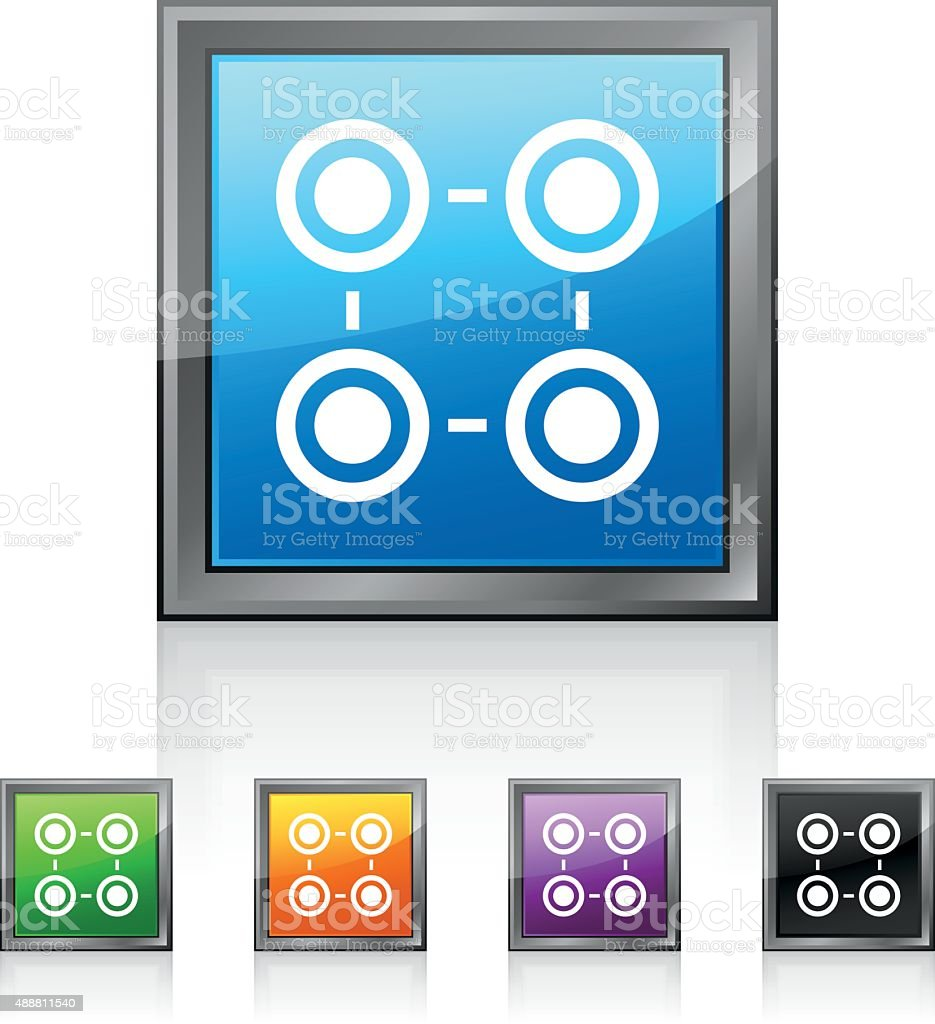 Flowchart icon on square buttons. royalty-free flowchart icon on square buttons stock vector art & more images of 2015