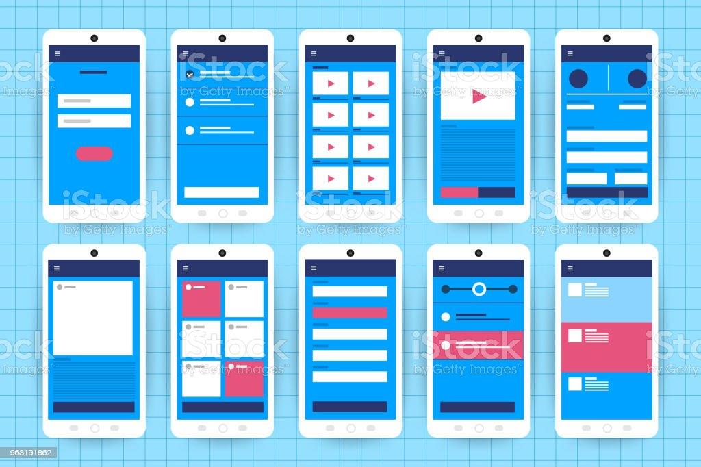 Ux Ui Flowchart Mockups Mobile Application Concept Flat Design