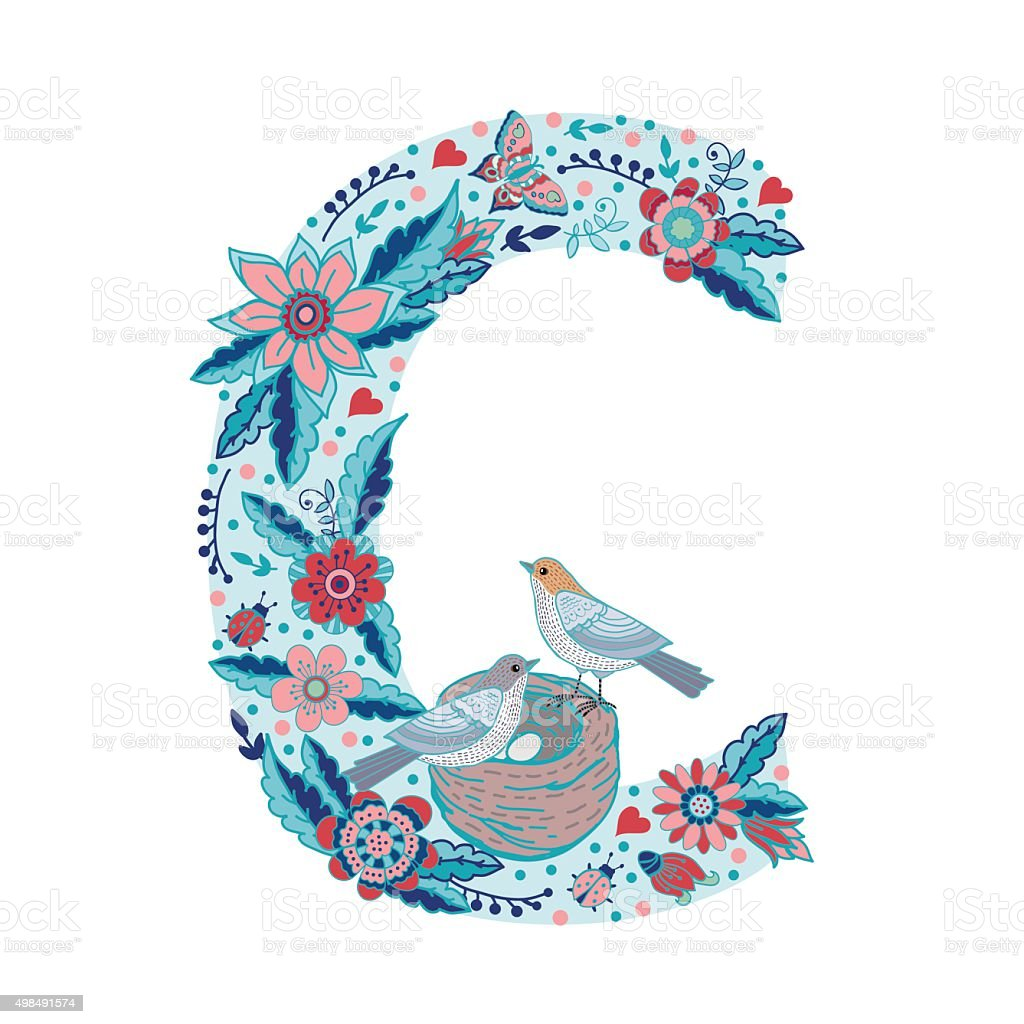 Flower Alphabet Letter C Stock Illustration