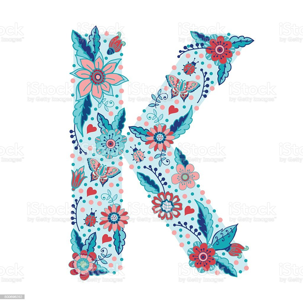 Flower Alphabet Letter K Stock Vector Art  U0026 More Images Of