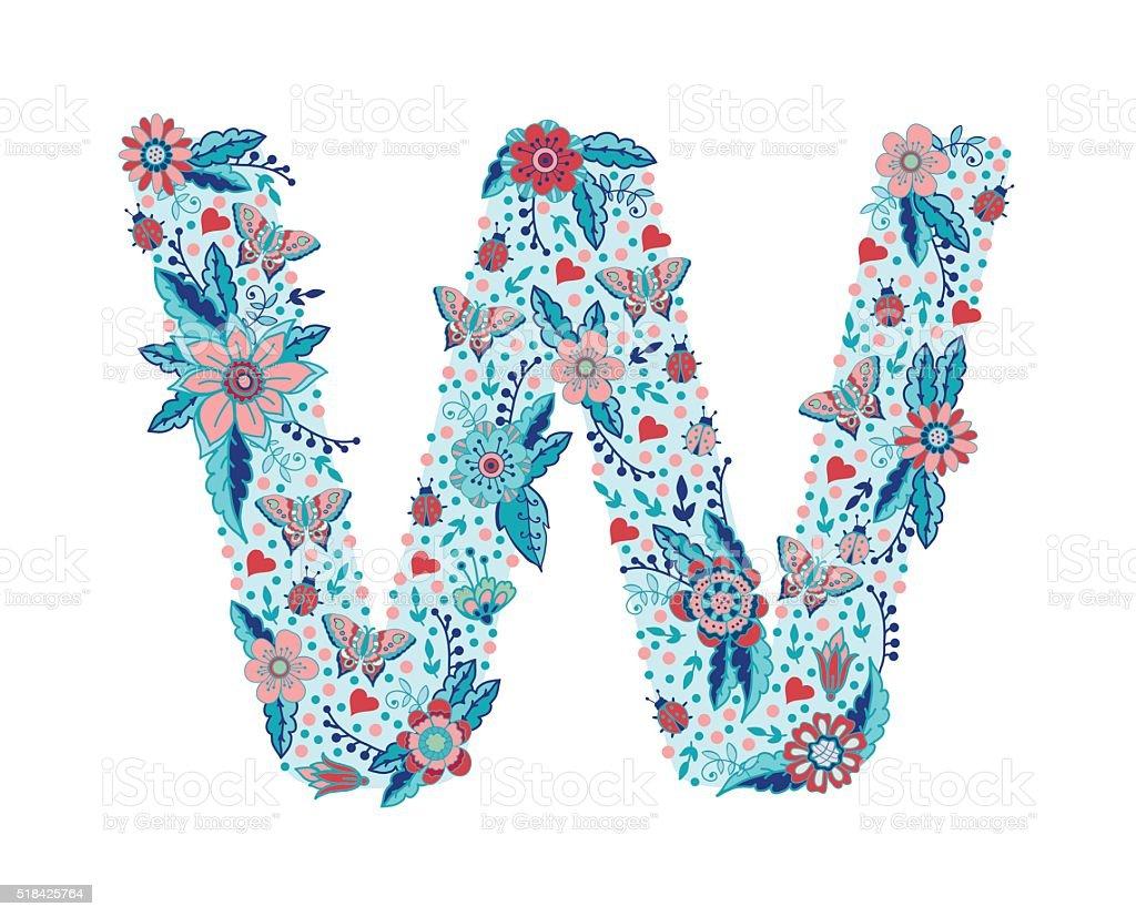 flower alphabet letter w stock vector art more images of alphabet 518425764 istock. Black Bedroom Furniture Sets. Home Design Ideas