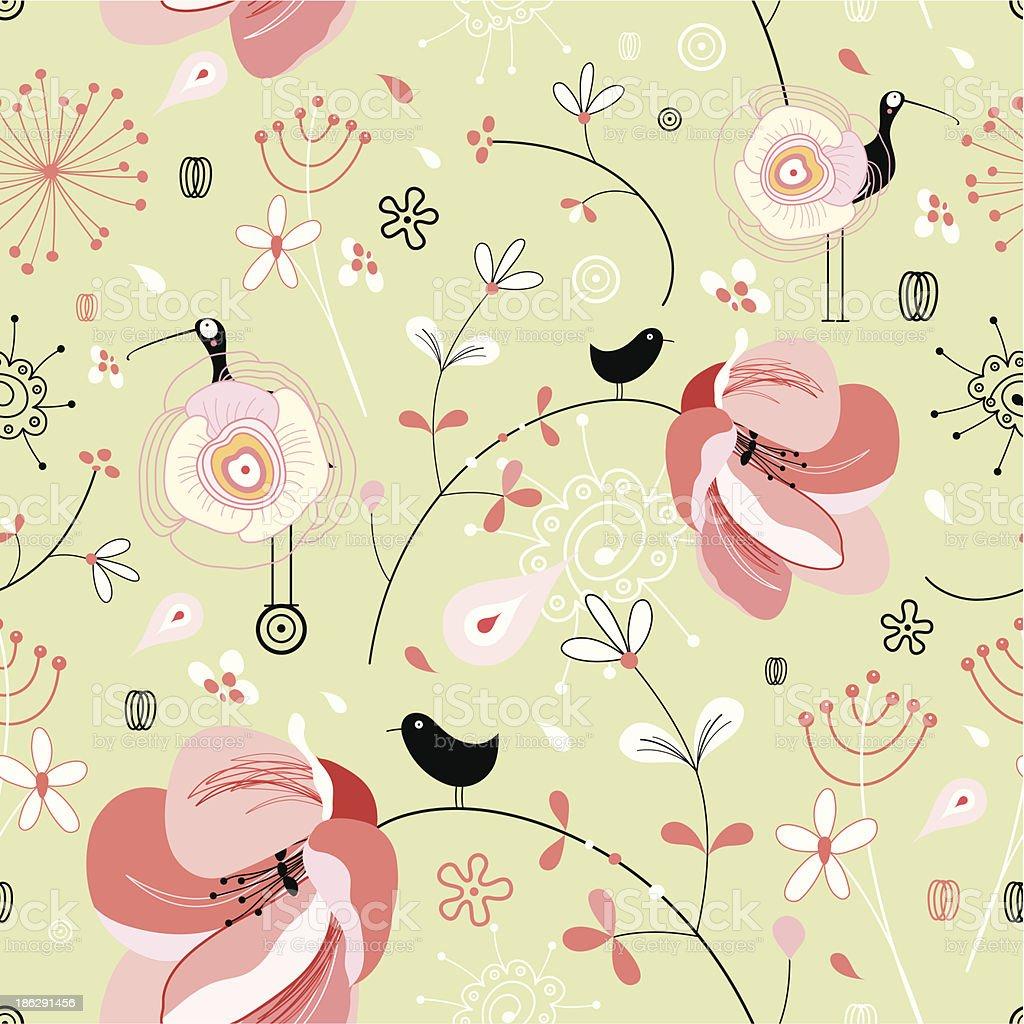 花と鳥背景 のイラスト素材 186291456 | istock