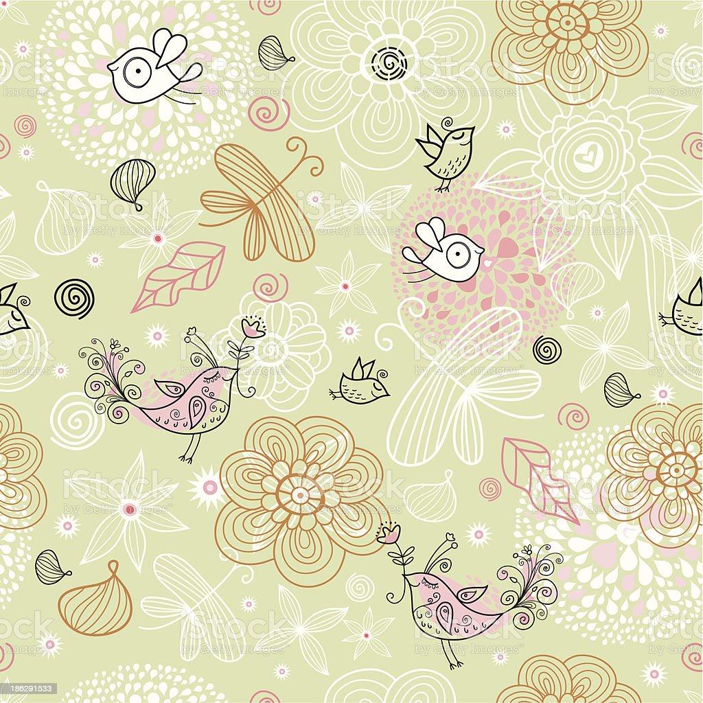 花と鳥背景 のイラスト素材 186291533 | istock