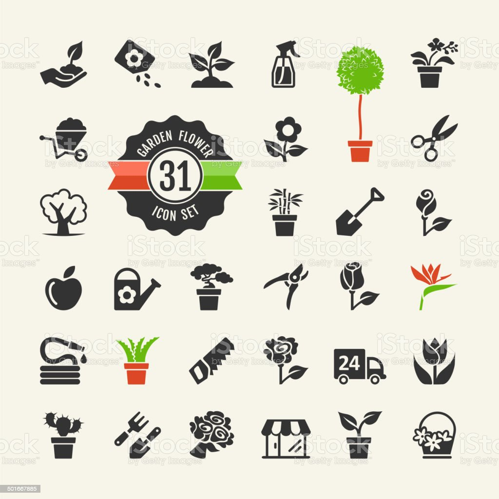 Flower and Gardening Tools Icons set vector art illustration