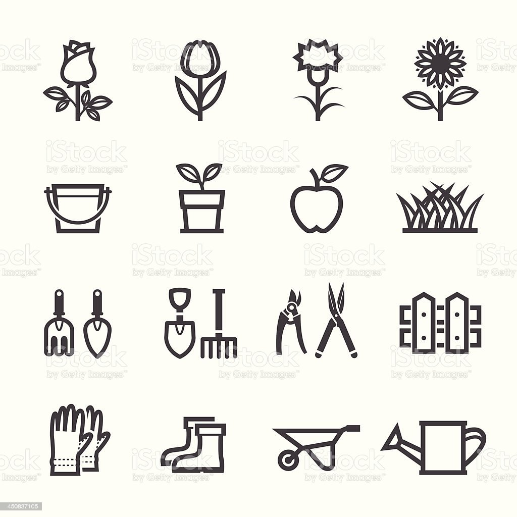 Flower and Gardening Tools Icons vector art illustration