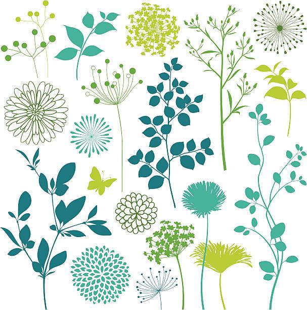 꽃 및 잎 디자인 요소를 - 꽃 식물 stock illustrations