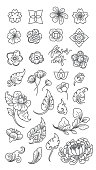 Set of flowers line vector style illustration clip arts. Thai. Japanese. Chinese oriental styles.
